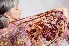 Hand paint.ed 'Flower garden' silk velvet devore wrap