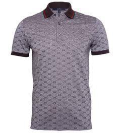 Gucci Grey GG Print Brown Collar Polo Shirt $267