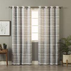 Aurora Home Geometric Tribal Print Curtain Panel Pair (Blue), Size 84 Inches