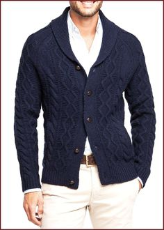 Shawl collar cable-knit cardigan – Men - Smoggy Tutorial and Ideas Mens Shawl Collar Cardigan, Cardigan En Maille, Cable Knit Cardigan, Herren Style, Sweaters For Women, Men Sweater, Cardigan Outfits, Cardigan Fashion, Pulls