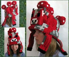 For everybody who's ever wanted to wear a Minecraft Mooshroom on their head (or knows somebody who'd love a Mooshroom hat as a gift), this Instructa. Rainbow Loom Minecraft, How To Play Minecraft, Minecraft Crafts, Minecraft Outfits, Minecraft Costumes, Minecraft Clothes, Diy Projects To Try, Sewing Projects, Winter Hats
