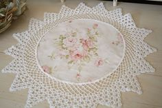 I often find vintage doilies that are less than perfect, but I never throw them out, I alter them The crochet work is gorgeous, but of. Framed Doilies, Lace Doilies, Crochet Doilies, Shabby Chic Pink, Shabby Chic Decor, Lace Decor, Antique Lace, Vintage Lace, Sewing Crafts