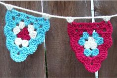 Granny Bunting - free crochet pattern with chart