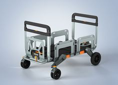EROVR is the uber-versatile folding cart-wagon system that's capable of transforming into a mover's dolly, handcart, flat cart, hand truck or kid's wagon. It starts out Modern Industrial, Industrial Design, Folding Cart, Kids Wagon, Diy Go Kart, Milwaukee Tools, Yanko Design, Tool Box, Cool Stuff