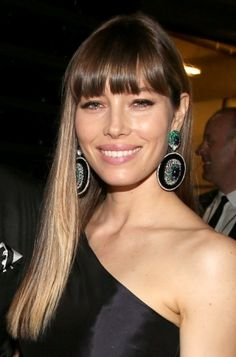 Straight bangs on Jessica Biel