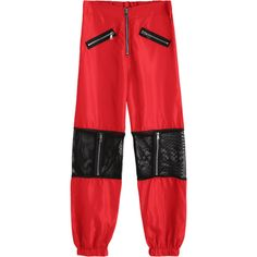Fishnet Panel Zippered Jogger Pants ($30) ❤ liked on Polyvore featuring pants, red trousers, zip trousers, zip pants, jogger pants and zipper pants