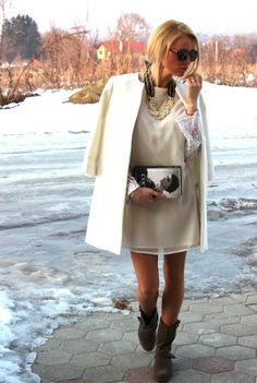 15 Street Style Outfit Ideas for Flat Boots and cream white dress and coat