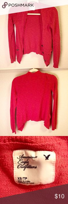 Red American Eagle Cardigan Cute, comfy Cardigan in coral-red!   Size XS American Eagle Outfitters Sweaters Cardigans