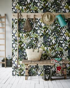Take inspiration from this beautiful mud room that features a glorious display of plant wallpaper featuring green leaves and flowers that can be used in home design for a splash of green or a botanical accent. Use plants in your home interior design! Plant Wallpaper, Botanical Wallpaper, Wallpaper Ideas, Christian Lacroix Wallpaper, Deco Nature, Deco Floral, Interior Decorating, Interior Design, Wallpaper Online