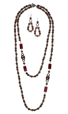 Jewelry Design - Double-Strand Necklace and Earring Set with Acrylic Beads and Links, Antiqued Gold-Finished Copper-Coated Plastic Beads and Gunmetal-Finished Pewter Loop Locks™ - Fire Mountain Gems and Beads