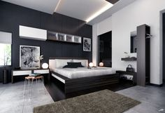 (via a cozy modern bedroom with black and white wallpaper, a white king mattress, brown carpet, a shelf hanging on the wall, two table nights, two beautiful night lamps, two beautiful pic)