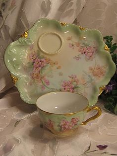 Exceptional Antique Limoges Hand Painted French Tea Cup Luncheon Sandwich Dessert Tray Biscuit Snack Set Theodore Haviland ~ Darling Pink Cherry Blossoms ~ Wonderful Gold Embossed Porcelain, circa 1900 ღ Vintage China, Vintage Tea, Antique China, Tea Cup Saucer, Tea Cups, Teapots And Cups, My Cup Of Tea, China Patterns, Tea Time