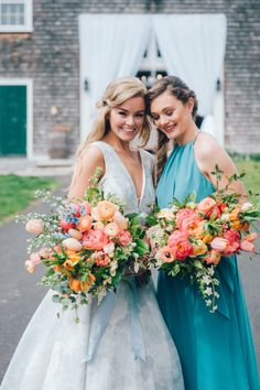 A Painted Blue Floral Wedding Gown Adds a Touch of Whimsy – Wedding Centerpieces Floral Wedding Gown, Summer Wedding Bouquets, Bride Bouquets, Flower Bouquet Wedding, Wedding Dresses, Flower Bouquets, Coral Bridal Bouquets, Ranunculus Bouquet, Bridesmaid Bouquets