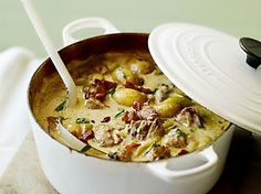 Normandy Pork Stew - A creamy, mustardy pork casserole recipe that makes a refreshing change from heavy, wintry stews Pork Casserole Recipes, Pork Recipes, Slow Cooker Recipes, Cooking Recipes, Hamburger Recipes, Chicken Casserole, Slow Cooking, Pork Stew Slow Cooker, Runza Casserole