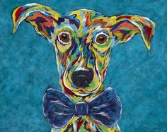 """For 12 years, Angela Alexander has been painting vibrantly colored portraits. She recently developed a creative way of giving back to the canine community. Her latest work, the ongoing """"Forget Me Not"""" series, depicts adoptable animals at Brother Wolf Animal Rescue (BWAR) who have special needs or who have been in the shelter for long periods of time. Sales help raise funds for BWAR and the paintings help spread the word that these animals are looking for homes. (Artist, Angela Alexander)"""