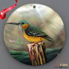 HAND PAINTED BIRD NATURAL MOTHER OF PEARL SHELL NECKLACE PENDANT ZL30 06097 #ZL #PENDANT