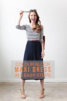 DIY colour block maxi dress :: Randomly Happy