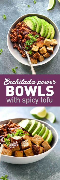 Enchilada Power Bowls with Spicy Tofu - Full of Plants gluten-free vegan spicy tofu enchilada power bowls Veggie Recipes, Mexican Food Recipes, Whole Food Recipes, Vegetarian Recipes, Dinner Recipes, Cooking Recipes, Healthy Recipes, Spicy Tofu Recipes, Vegetarian Mexican