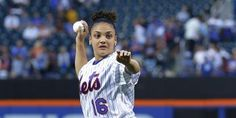 Laurie Hernandez first pitch   Laurie Hernandez Performs Amazing Aerial…