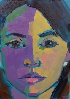 """""""Half-Hour Portrait Commission"""" - Original Fine Art for Sale - © Jessica Miller. 7x5, acrylic on board. It's such a good feeling to send someone home with a portrait that she loves. Just send me an email if you're interested in a portrait of yourself or your children!"""
