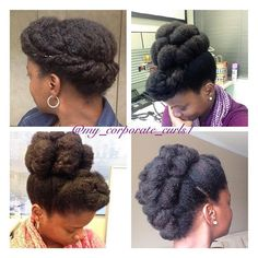 By @my_corporate_curls1 #protectivestyles Cute Natural Hairstyles, Protective Hairstyles For Natural Hair, Natural Hair Updo, Natural Hair Care, Natural Hair Styles, African Hairstyles, Afro Hairstyles, Natural Hair Wedding, Stylish Hair
