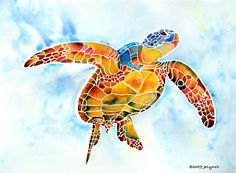 Sea Turtle Gentle Giant Painting.by Jo Lynch *~ How I want to glide with you! ~*
