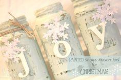 Painted Snowy Mason Jars