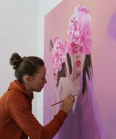 Contemporary artist Jen Mann working on a commissioned painting in her art studio Moustaches, Painting Inspiration, Art Inspo, Exhibition, Process Art, Art Studios, Artist At Work, Traditional Art, Contemporary Artists