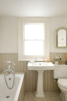taupe & white bath w/ bead board & pedestal (change taupe for grey- will look good with purple accents or blues & greens)