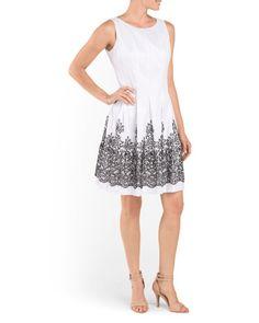 Beaded+Bottom+Fit+N+Flare+Dress