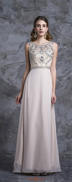 Stunning Prom Dresses Champagne Beaded Bodice And Back A-Line Scoop Sweep/Brush Chiffon Item Code: #CMDPJC8TKJS