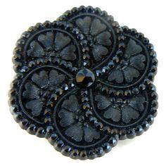 antique lacy scallop border black glass button