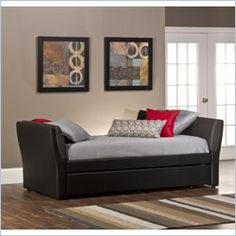 Natalie Daybed with Trundle, Black Faux Leather