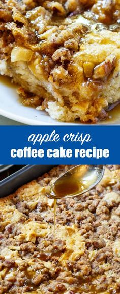 Apple Crisp Coffee Cake {Easy Dessert Recipe with Granny Smith Apples} Two classic desserts...in one! Apple Crisp Coffee Cake is stuffed with apples, topped with a brown sugar pecan streusel and an apple cider syrup. Recipe by Spicy Southern Kitchen