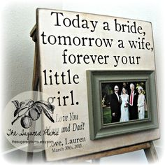 Father of the Bride Gift, Father of Bride, Parents Thank You, Parents Wedding Gift, TODAY A BRIDE, Personalized Picture Frame 16x16