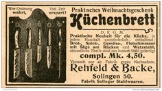 Original-Werbung/Inserat/ Anzeige 1902 - MESSER / KÜCHENBRETT / REHFELD & BACKE SOLINGEN  Ca. 90 X 50 Mm - Werbung
