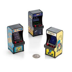 For retro enthusiasts and video game aficionados, these Tiny Arcade video game cabinets can go with you anywhere, fitting in the palm of your hand. Eat Pac-Dots in Pac-Man or Ms. Pac-Man , or keep the world safe from aliens in Galaxia Gadgets, Wii U, Xbox 360, Video Game Bedroom, Mini Arcade, Cool Tech Gifts, Nintendo, Teenage Girl Gifts, Classic Video Games