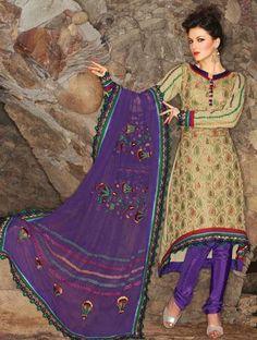 $82.96 Brown Silk Thread Work Anarkali Style Salwar Suit 24864