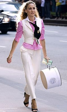 celeb trend Carrie SATC pink pinstripe shirt, cream cropped pants and matching waistcoat