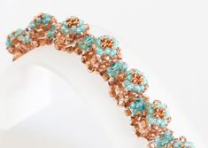 Seed Bead Bracelet in Lt Turquoise Crystals by KKbraceletsandmore