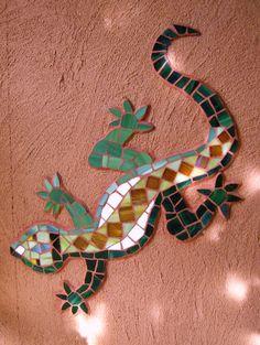 Lizard Southwestern Art, Hand Painted Rocks, Geometric Shapes Art, Art, Mosaic Wall Art, Gecko Wall Art, Mosaic Art