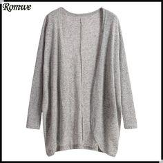 nice ROMWE Springtime Informal Put on Style Ladies Clothing Manufacturer Custom Warm Purchase Feminino Open up Entrance Gray Lengthy Sleeve Free Cardigan