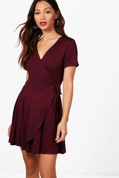 e912b3ca7341 boohoo Petite Hannah Wrap Skater Dress Cool Outfits, Dress Outfits, Fashion  Outfits, Womens