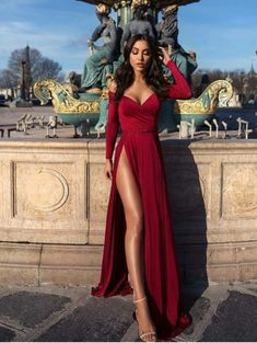 kleider Off shoulder prom dress,red long evening dress,party dress with high split,long sleeve prom dress Source by franzjosefhilde dresses sweetheart Cute Prom Dresses, Prom Dresses Long With Sleeves, Elegant Prom Dresses, Prom Outfits, Formal Evening Dresses, Mode Outfits, Homecoming Dresses, Evening Gowns, Sexy Dresses