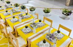 Easter table with hanging