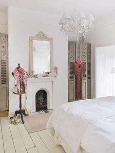 White bedroom, fireplace and painted white floorboards -great idea to use screens in alcoves to hide clothing rails/shelves Dream Bedroom, Home Bedroom, Bedroom Decor, Bedroom Ideas, Bedroom Mirrors, Master Bedrooms, Bedroom Inspo, Girls Bedroom, White Floorboards