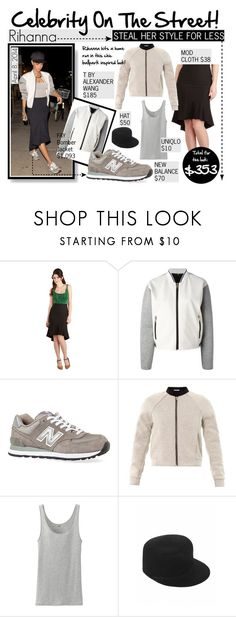"""Celebrity On The Street : Rihanna"" by reddotdaily ❤ liked on Polyvore featuring FAY, New Balance, T By Alexander Wang, Uniqlo and Helene Berman"