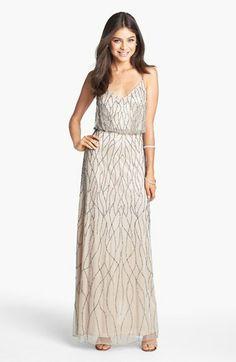 Adrianna Papell Beaded Mesh Blouson Gown (Regular & Petite)   Nordstrom