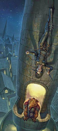 fantasy art m Dragonborn Fighter Hvy Armor Cloak vs f Rogue Assassin Leather Armor Dual Daggers rope climbing urban City streets Tower Night Story lg Dark Fantasy Art, Fantasy Artwork, Fantasy Kunst, Fantasy World, Final Fantasy, Dnd Characters, Fantasy Characters, Female Characters, Rogue Assassin