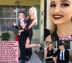 Chastity and Feminization Captions for Sissies Couple Caption, Forced Tg Captions, Prom Date, Tg Caps, Female Supremacy, Androgynous Fashion, Beautiful Couple, Sexy Feet, Me As A Girlfriend